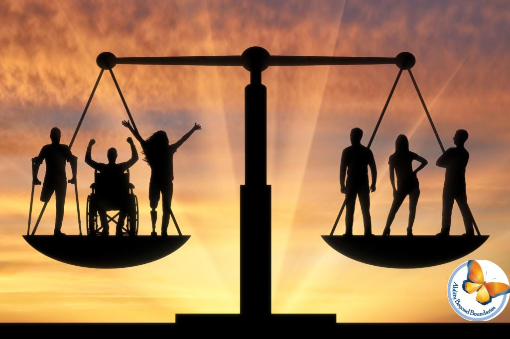 ترازویی که در یک کفه سه فرد معلول و در سمت دیگر سه فرد غیرمعلول در توازن کامل ایستاده اند