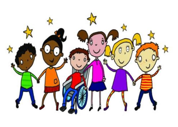 گرافیک: تصویر کودکان شاد، یکی از آنها روی صندلی چرخدار نشسته است