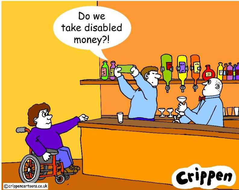 """Man on wheelchair at the checkout, server asks his Manager if he should take the """"disabled money"""""""