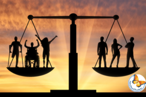 3 people with disability and 3 people without disability balancing on a set of scales