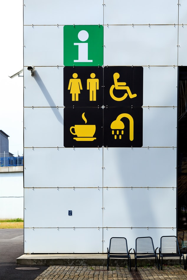 Images of some accessible facilities and equipment's, like accessible bathroom, toilet and wheelchair
