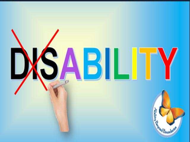 گرافیک: کلمه Disability که Dis خط خورده است (به زبان انگلیسی)