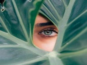 چشم زنی که از میان برگ سبز رنگی به بیرون نگاه می کند