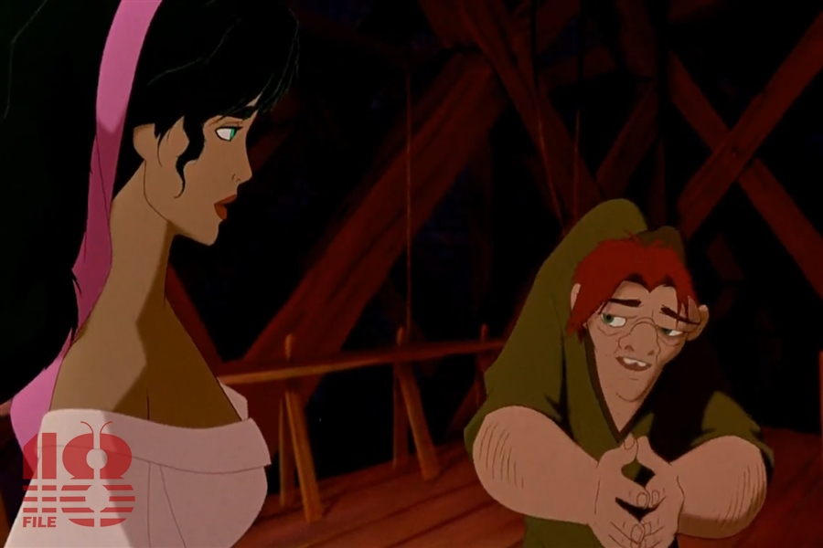 The hunchback is shy and embarrassed with his physical figure while looking at the woman