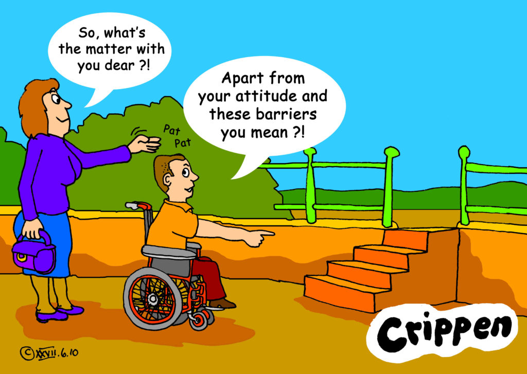 Frustrated young man on wheelchair at the bottom of the stairway