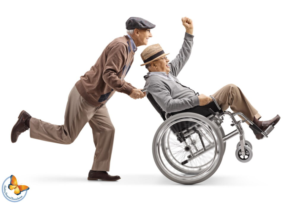 Senior man pushing a positive disabled man in a wheelchair gesturing with hand
